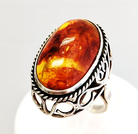 Sterling Silver & Amber Ring from Poland