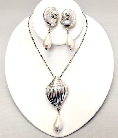 Frederic Jean Duclos Sterling Silver Shell & Pearl Pendant and Earrings