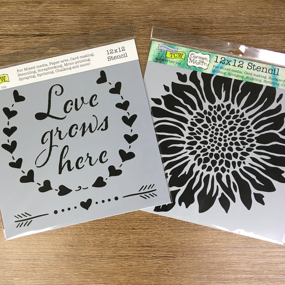 Love Grows + Joyful Sunflower Stencils 12x12 Kit