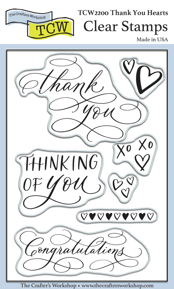 TCW2200 Thank You Hearts 4x6 Clear Stamps