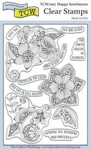 TCW2207 Happy Sentiments 4x6 Clear Stamps
