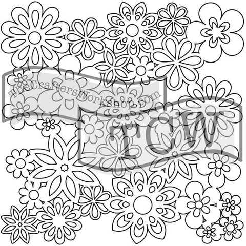 TCW176 Gathered Flowers Stencil