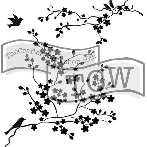 TCW177 Cherry Blossoms Stencil