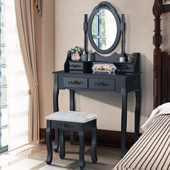 Althea Dressing Table Set - Black