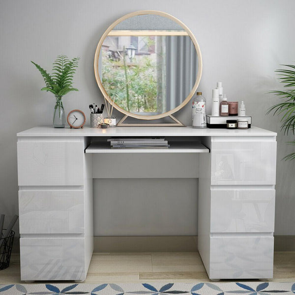 Janet Dressing Table - 6 Drawer - High Gloss White