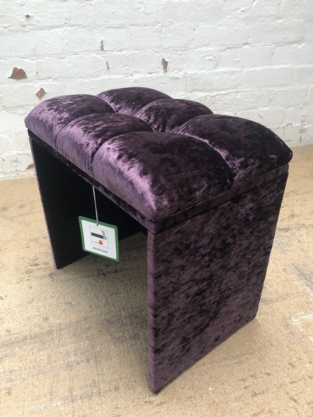 Alessandra Crushed Velvet Dressing Table Stool – Purple