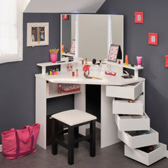 Aylsa Corner Dressing Table Set - White