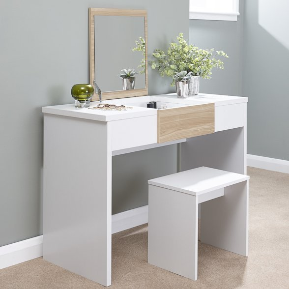 Callum Dressing Table Set - White/Oak