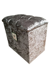 Dressing Table Stool in Silver Glitz