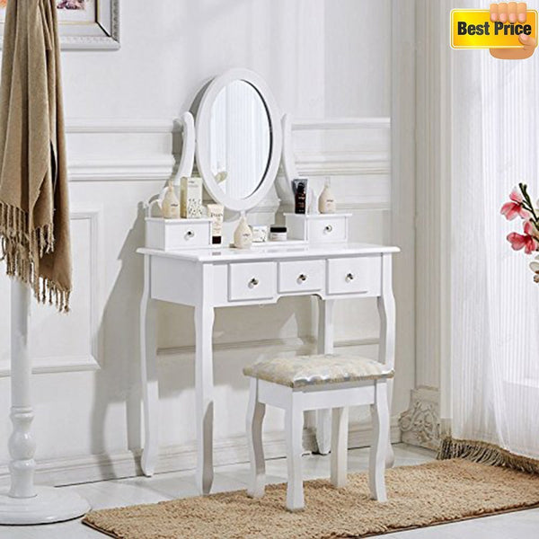 Dorian Dressing Table Set 5 Drawer White