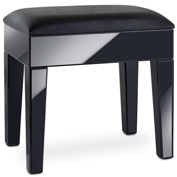 Savil Black Mirrored Dressing Table Stool – Black