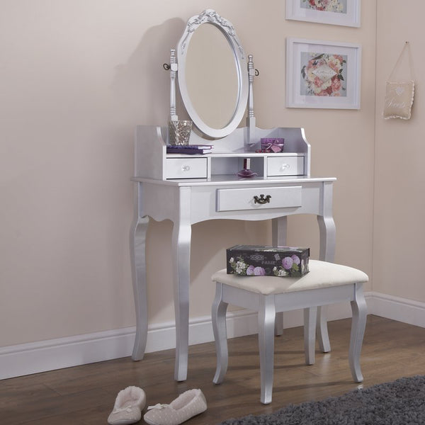 Lucia Dressing Table Set - Silver