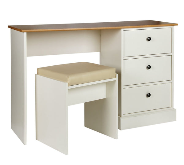Notting Hill Dressing Table & Stool - Ivory/Oak Eff