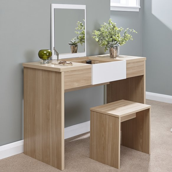 Callum Dressing Table Set - Oak/White