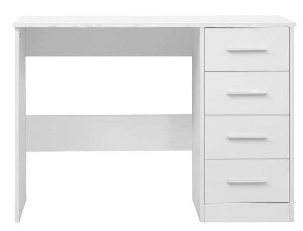 Amelia Dressing Table - 4 Drawer - Matt White/Gloss White