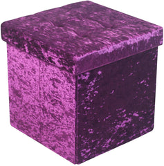 Ava Crushed Velvet Dressing Table Stool - Purple