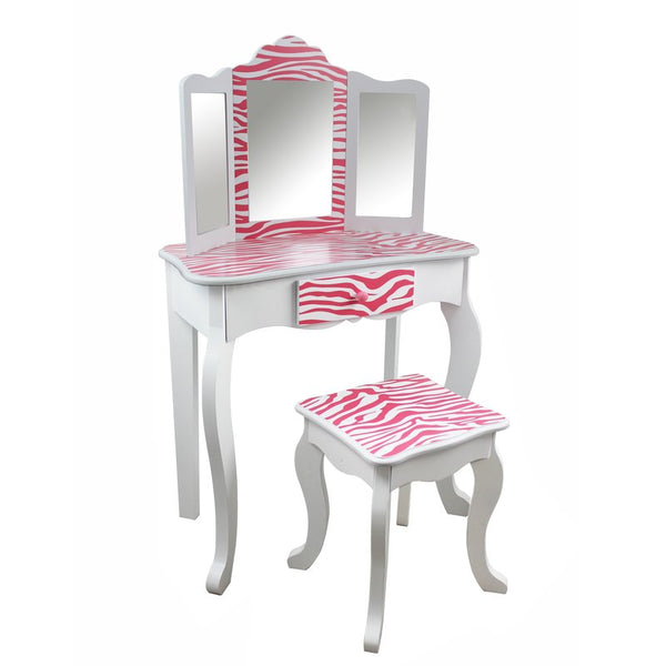 Imogen Childrens Dressing Table - White & Dark Pink