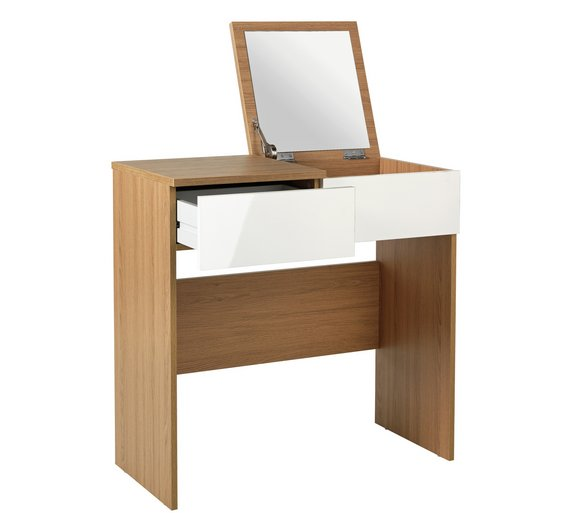 Boston Dressing Table with Mirror – White Gloss & Oak Effect