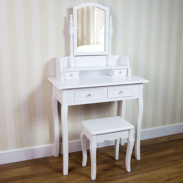 Bancara Dressing Table Set - White - 4 Drawer