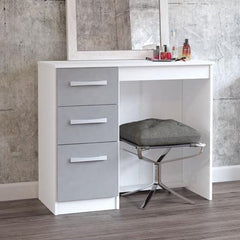 Gloria Dressing Table - White & Grey High Gloss