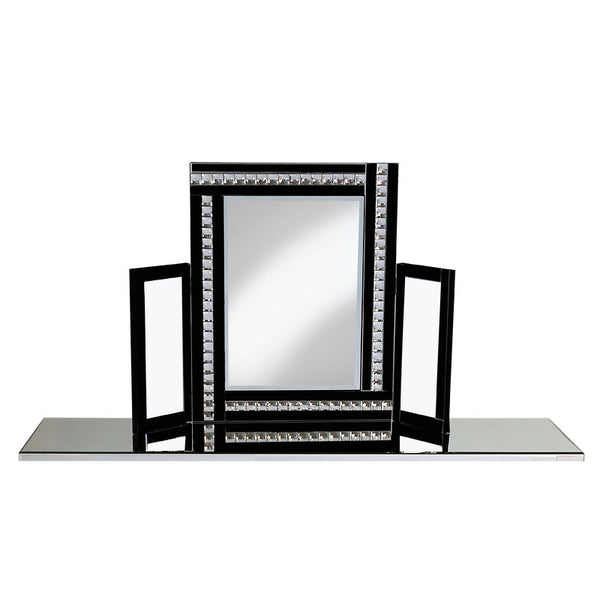 Triple Dressing Table Mirror - Black Crystal