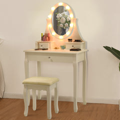 Flavia Mirror LED Dressing Table Set