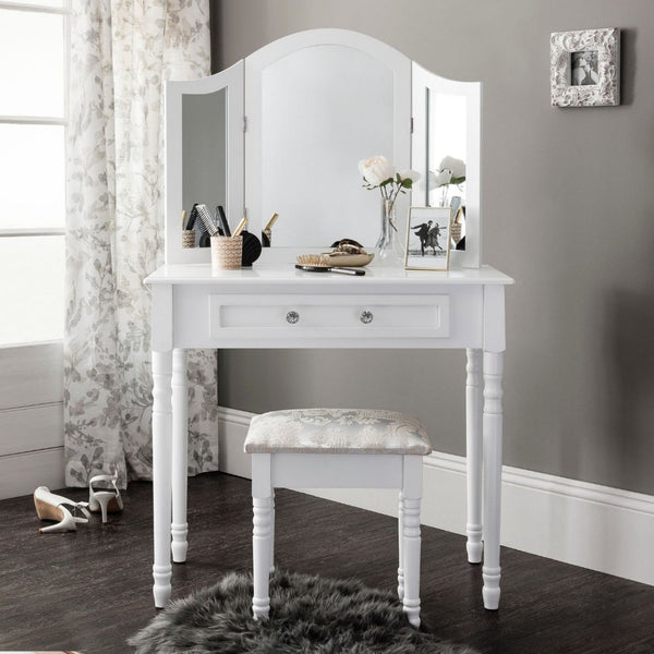Monroe White Dressing Table Set