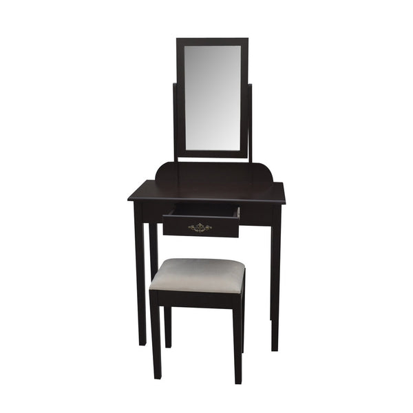 Apoline Dressing Table Set - 1 Drawer - Dark Brown