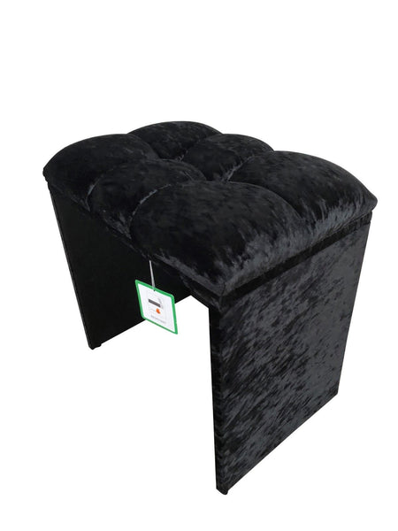 Alessandra Crushed Velvet Dressing Table Stool – Black