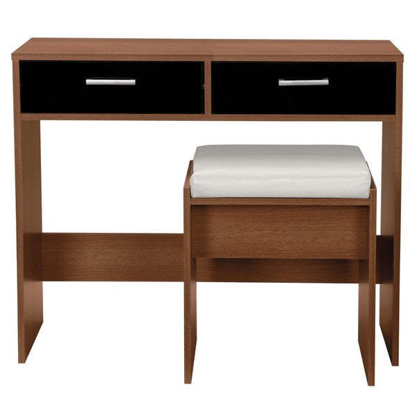 Mindy Dressing Table Set - Black Gloss & Walnut