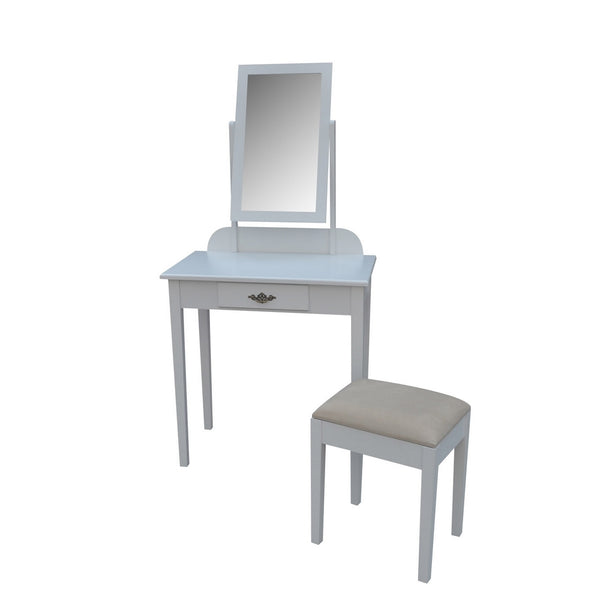 Apoline Dressing Table Set - 1 Drawer - White