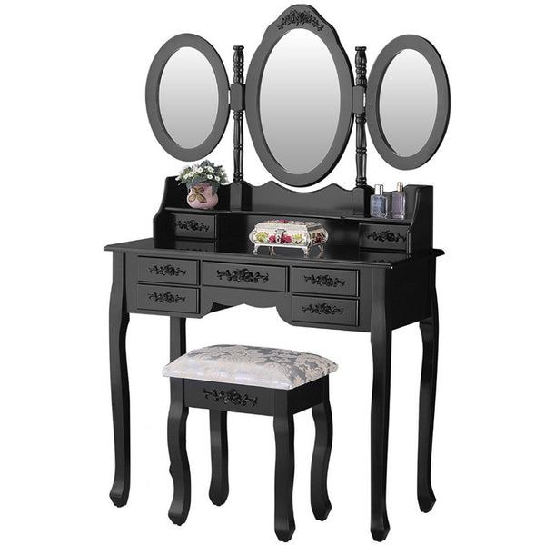 Alice Shabby Chic Dressing Table Set - Black