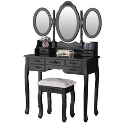 Alice Shabby Chic Dressing Table Set 7 Drawer Black | BUY FROM DRESSING TABLES UK | FREE DELIVERY UK MAINLAND