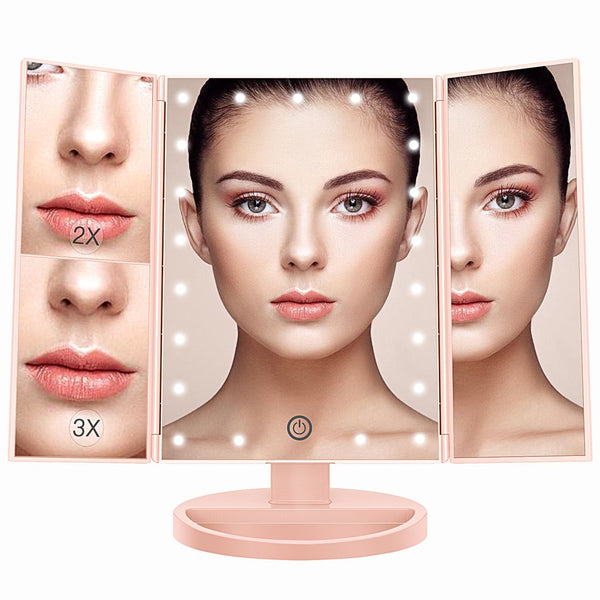 Beautify Dressing Table Mirror - Pink - 21 LED Light