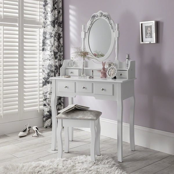 Olivia Dressing Table Set - 5 Drawer - White