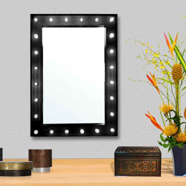 Ava Wall Mounted Hollywood Mirror - Black