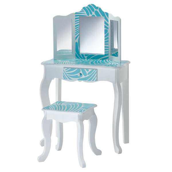 Imogen Childrens Dressing Table - White & Turquoise