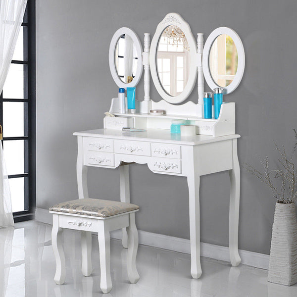 Alice Shabby Chic Dressing Table Set - White