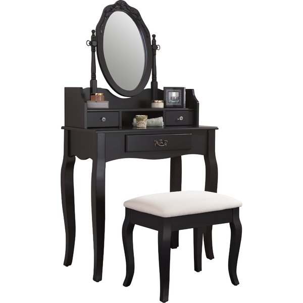 Lucia Black Dressing Table Set