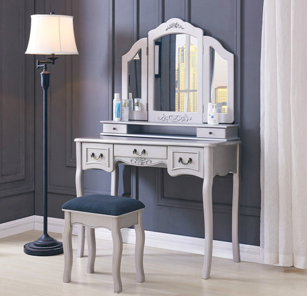 Lucille Dressing Table Set- Silver