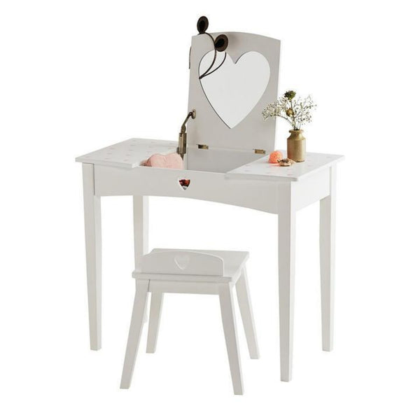 Loveheart Childrens Dressing Table Set – White & Pink Hearts