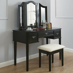 Belinda Black Dressing Table Set With Drawers | DRESSING TABLES UK