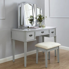 Belinda Grey Dressing Table Set With Drawers | DRESSING TABLES UK