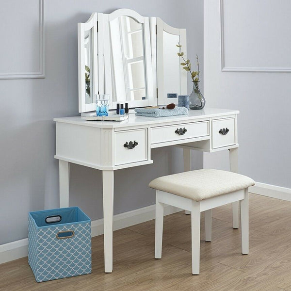 Belinda White Dressing Table Set