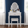 Audrina Dressing Table Set - 3 Drawer - White