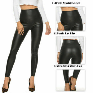 Faux Leather High Waist Pants with Stretch