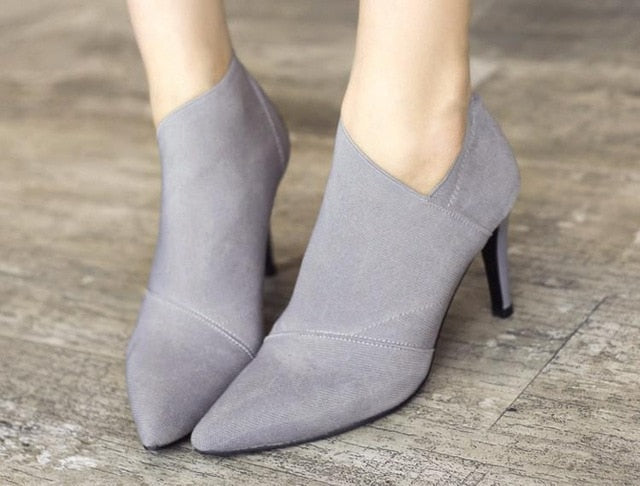 Slip-On Retro High Heel Ankle Boot