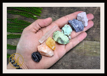Load image into Gallery viewer, 7 Chakra Raw Gemstone Kit Healing Gemstone Set 7 Chakra Raw Crystals Set Healing 7 Chakra Rough Gemstones Intention Stones Lithiotherapy