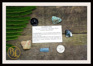 Number 1 ONE Gemstone Kit Numerology Gemstone Kit #1 Gemstone Set Healing Crystals Stone Intention Stones Lithiotherapy Number 1 Gemstones