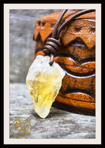 Raw Citrine Pendant with 2mm Leather Cord Choose your leather Cord Raw Citrine Pendant Citrine Necklace Solar Plexus Raw Citrine Necklace